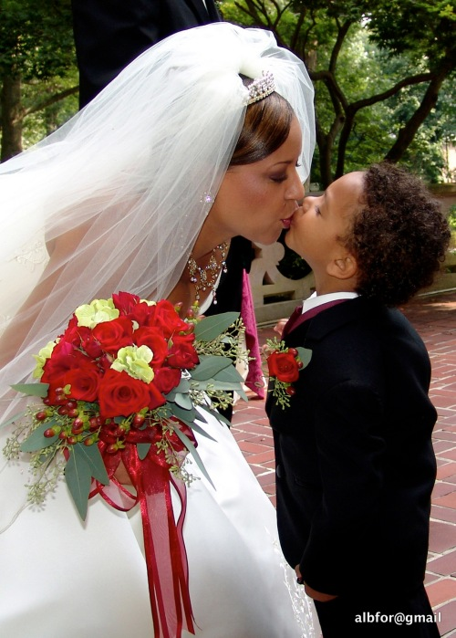 The Bride kisses the ring boy