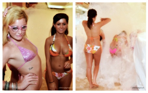 Female contestants preparing and entering the Bubbles