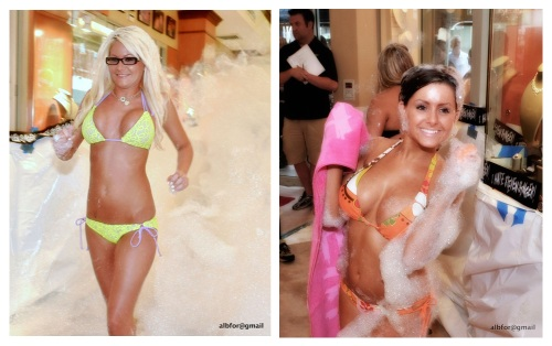 Female contestants exiting the Bubbles