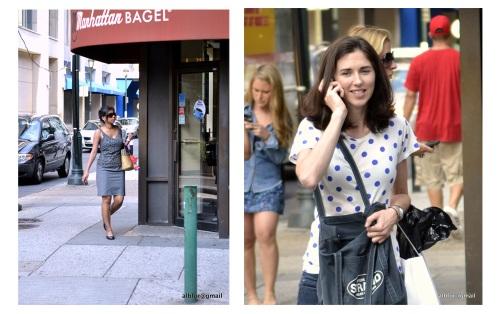 Single women walking, on the phone