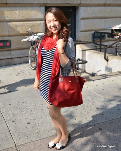 July 10, 2011 Striped dress red scarf & bag DSC_6688
