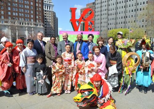 Mar 26, 2012 Subaru Cherry Blossom Festival Kickoff , Daidengaku & Mazairaku Japanese Dance group, Kazumi Teune, Michael McHale, Mayor Michael Nutter, 135-DSC_2988