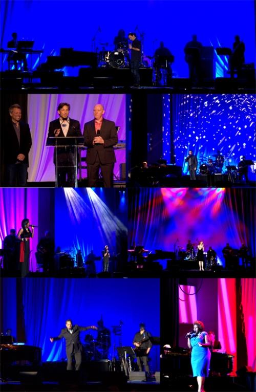 Jon Bon Jovi, Capathia Jenkins (Newsies), Rita Harvey (Phantom of the Opera), Jeannette Bayardelle (Hair), Jason Wooten (Jekyll & Hyde), Richard Todd Adams (The Phantom of the Opera) and Ted Louis Levy (Black & Blue)