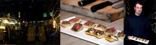 Bar Volver  | Server with Wagyu Tartine~Shaved Rib-Eye, Black Truffle provoleta, Scallion