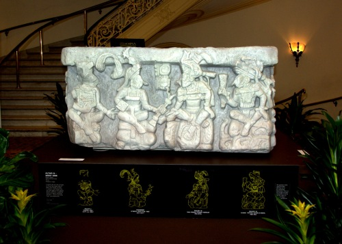 Replica of ALTAR O-WEST SIDE, from Historical cast 776 CE, Honduras, Copan.  depicting 16 kings of Copan in sequence