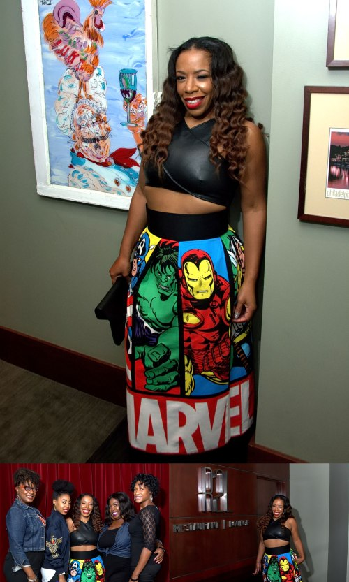 Wearing a stunning Marvel Comic skirt by Designer American former fashion model and fashion designer Kimora Lee Simmons.