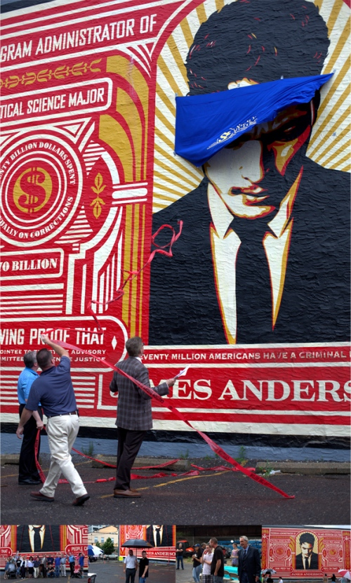 "June-23,-2016-SE-""Unveiling""-of-the-James-Anderson-mural-by-Shepard-Fairey-Long-board"